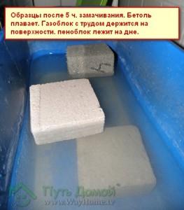 Тест на водонасыщение материалов при замачивании.